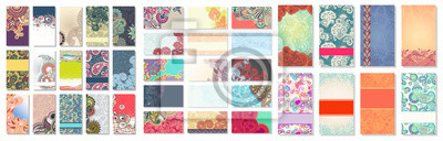Fototapete collection of colorful floral ornamental business card