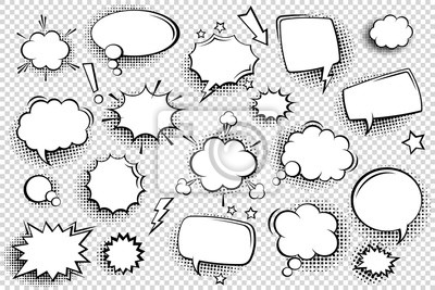 Fototapete Collection of empty comic speech bubbles with halftone shadows. Hand drawn retro cartoon stickers. Pop art style. Vector illustration.