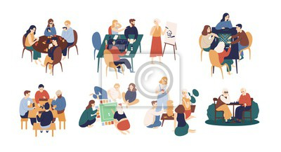 Fototapete Collection of funny smiling people sitting at table and playing board or tabletop games. Home leisure activity for friends or family members. Colorful vector illustration in flat cartoon style.