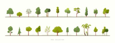 Fototapete Collection of green tree vector icons