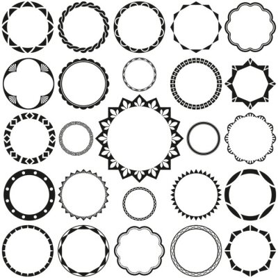 Fototapete Collection of Round Decorative Border Frames with Clear Background. Ideal for vintage label designs.