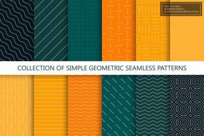 Fototapete Collection of seamless geometric minimalistic patterns. Simple dotted and striped textures - endless backgrounds. Color textile repeatable prints. You can find seamless design in swatches panel
