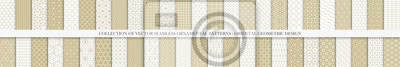 Fototapete Collection of seamless geometric ornamental vector patterns. Grid oriental backgrounds. Vintage white and beige design