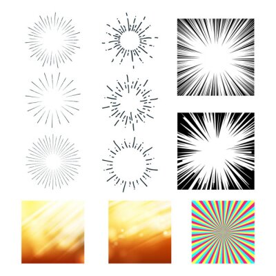 Collection Of Sunrays And Starburst Set Vector. Colorful, Black And White Different Exploding And Stripes Sunrays. Stylish Abstract Glittering Sunbeams Design Flat Cartoon Illustration
