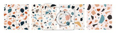 Fototapete Collection of Terrazzo seamless patterns with colorful rock fragments. Set of backdrops with stone pieces or sprinkles. Bundle of rock textures. Vector illustration for wrapping paper, textile print.