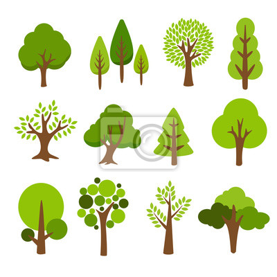 Fototapete Collection of trees. tree set isolated on white background. vector illustration.