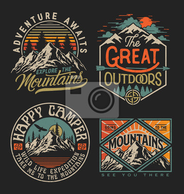 Fototapete Collection of vintage explorer, wilderness, adventure, camping emblem graphics. Perfect for t-shirts, apparel and other merchandise