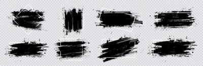 Fototapete Collection paint compositions grunge with frame for texting boxes. Dirty texture elements, quote box speech template. Black splashes isolated. Paint grunge for posters, flyers, cards, banners. Vector