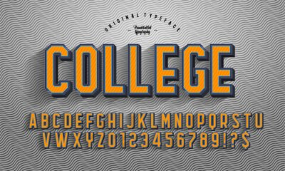Fototapete 'College' Vintage 3D Octagonal Alphabet with rich texture and shadow. Retro Basketball Typeface. Sport Jersey Font. Vector Illustration.