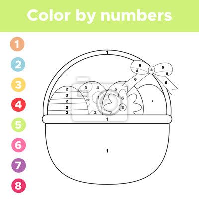 Color by numbers. coloring page easter eggs in basket. educational ...
