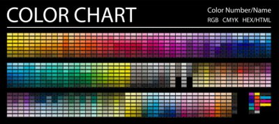Fototapete Color Chart. Print Test Page. Color Numbers or Names. RGB, CMYK, HEX HTML codes. Vector color palette.