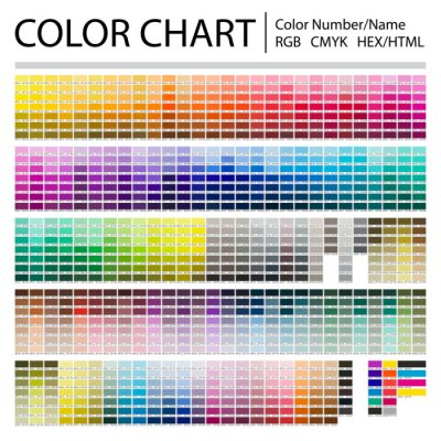 Fototapete Color Chart. Print Test Page. Color Numbers or Names. RGB, CMYK, Pantone, HEX HTML codes. Vector color palette.