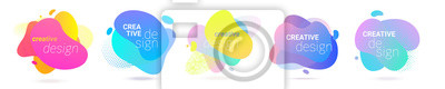 Fototapete Color gradient abstract liquid splash shape, vector halftone pattern background design. Fluid color gradient overlap halftone graphic background