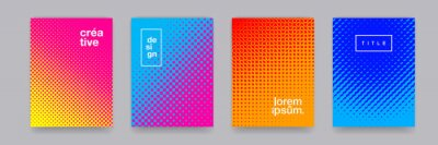 Fototapete Color gradient background, geometric halftone pattern, vector abstract trendy graphic design. Simple minimal halftone color gradient, modern pattern backgrounds