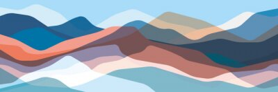 Fototapete Color mountains, translucent waves, abstract glass shapes, modern background, vector design Illustration for you project