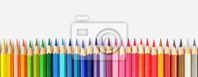 Fototapete Color pencils isolated on white background close up with Clipping path.Beautiful color pencils.Color pencils for drawing  Rainbow color pencil and used as a background.