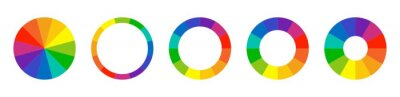 Fototapete Color wheel guide. Floral patterns and palette isolated. RGB and CMYK colors. Pie charts diagrams. Set of different color circles. Infographic element round shape. Vector illustration.