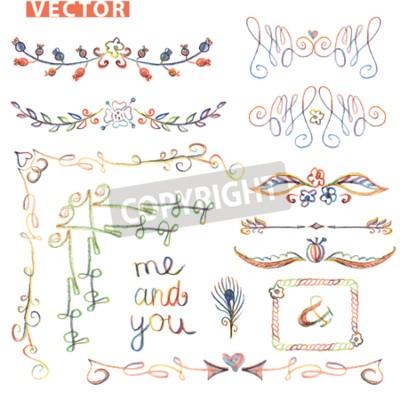 Colored Doodles Floralen Dekor Set Wasserfarbe Bleistift Kreide