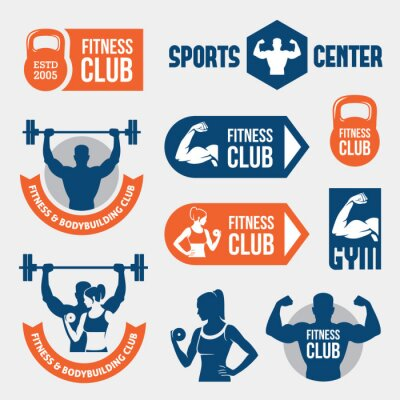 Fototapete Colored gym labels