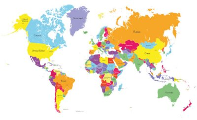 Colored political world map with country names and capital cities ...