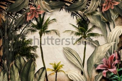 Fototapete Colored Tropical Flowers wallpaper illustration