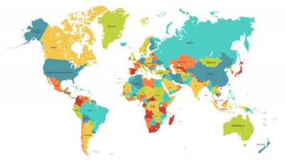 Fototapete Colored world map. Political maps, colourful world countries and country names. Geography politics map, world land atlas or planet cartography vector illustration