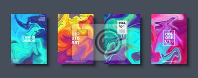 Fototapete Colorful abstract geometric background. Liquid dynamic gradient waves. Fluid marble texture. Modern covers set. Eps10 vector.