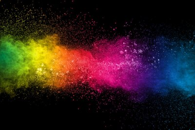 Fototapete Colorful background of pastel powder explosion.Multi colored dust splash on black background.Painted Holi.