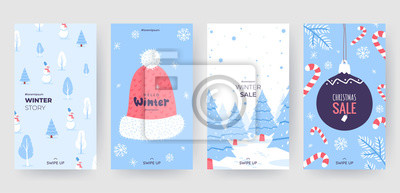 Fototapete Colorful christmas banners with cute winter illustrations. Set of winter social media stories template. Background collection with place for text. Use for event invitation, promo, ad. Vector eps 10