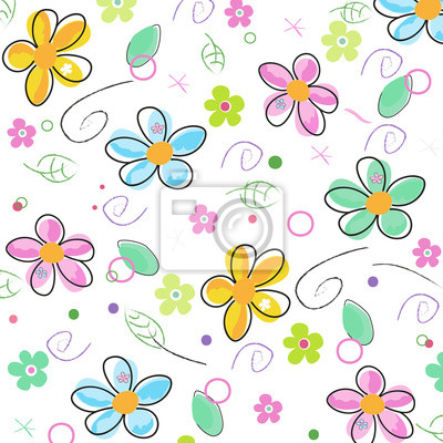 Colorful Doodle Spring Flowers Background Fototapete Fototapeten