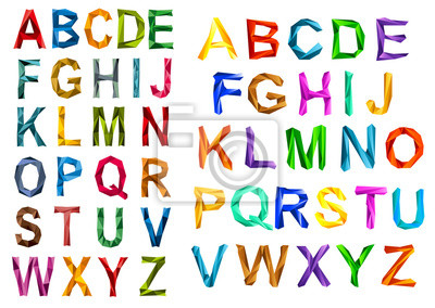 Colorful origami alphabet letters sets