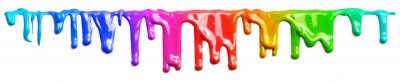 Fototapete Colorful paint dripping isolated on white