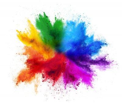 Fototapete colorful rainbow holi paint color powder explosion isolated white background