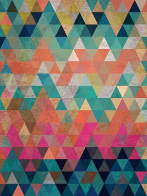 Fototapete Colorful triangles with antique style background