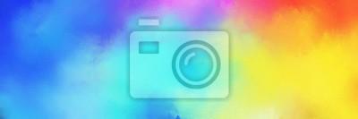 Fototapete colorful vibrant aged horizontal background with medium turquoise, pastel orange and royal blue color