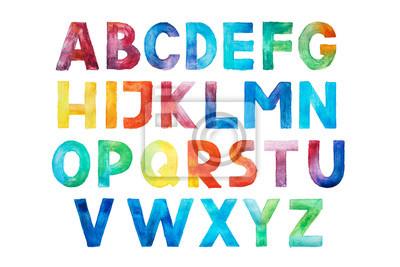 Colorful watercolor aquarelle font type handwritten hand draw abc alphabet letters.
