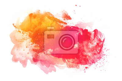 Fototapete Colorful watercolor background isolated on white