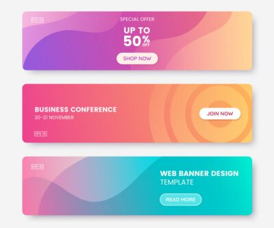 Fototapete Colorful web banner with push button. Collection of horizontal promotion banners with pastel gradient colors and abstract geometric backdrop.Header design. Vibrant coupon template. Vector eps 10