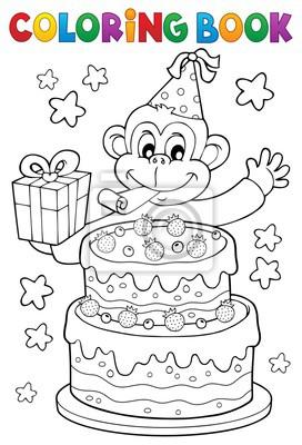 Coloring book cake and party monkey fototapete • fototapeten pfeifen ...