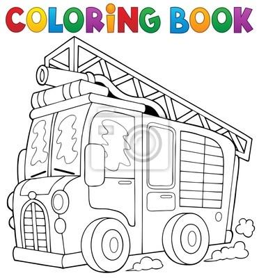 Fototapete: Coloring book fire truck theme 1