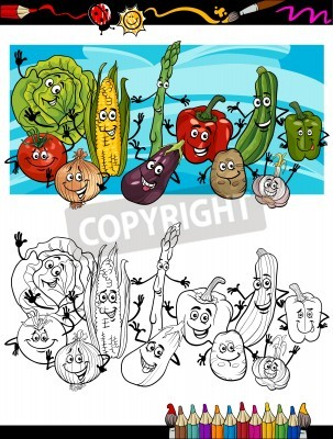Coloring book or page cartoon illustration of comic vegetables ...
