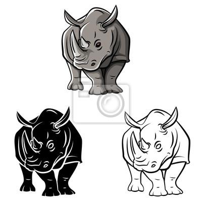 Fototapete: Coloring book rhinoceros tattoo cartoon character