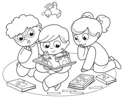 Fototapete Coloring Illustration von Freunden liest ein Pop-up-Buch zusammen.