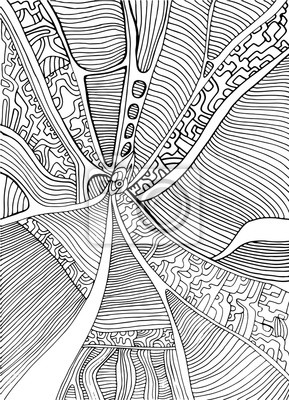 Fototapete Coloring Page Abstract Pattern Maze Of Ornaments Psychedelic Stylish Card