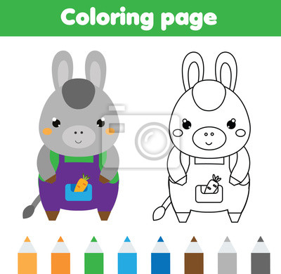 Coloring page with donkey. drawing kids activity. printable toddlers ...