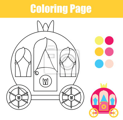 Coloring page with princess carriage. drawing kids game. printable ...