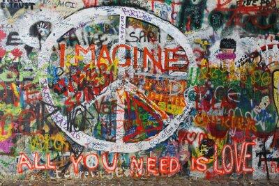 Fototapete Colourfull Frieden Graffiti an der Wand