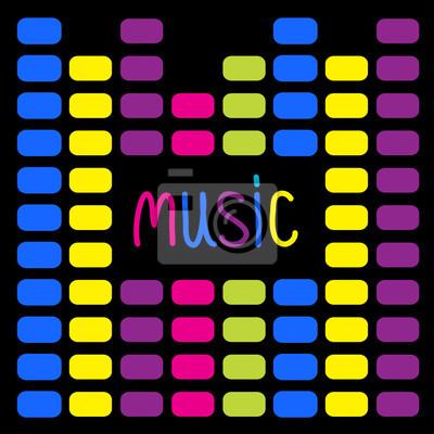 Colurful digitale Equalizer und Wort Musik. Karte.