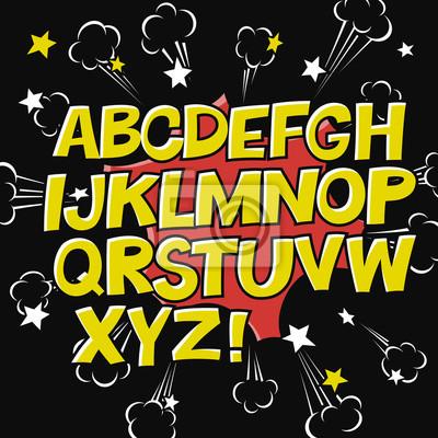 Comic Alphabet und Sprechblase element.Explode Symbol auf schwarzem Hintergrund. Vektor-Set. Komischer Text. Vector Blase Symbol Rede Phrase. Comics buchen Ballon.