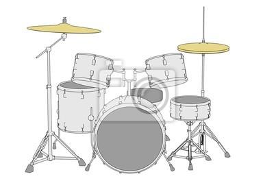 Comic Bild Von Musikinstrumenten Schlagzeug Fototapete